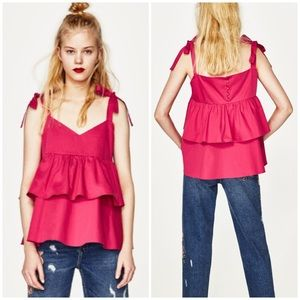NEW Zara Pink Frilled Top with Bows - small